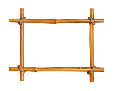 Bamboo photo frame isolated on white background. Closeup photo