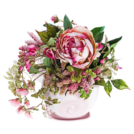 Colorful bouquet from roses and peon flowers in vase isolated on white background. Closeup. 免版税图像