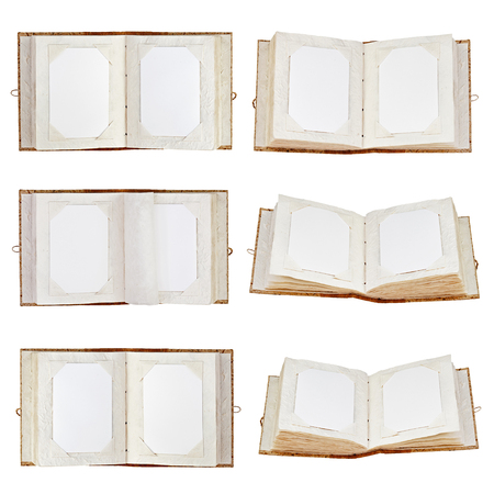 Set of old open photo albums with place for your photos isolated photo