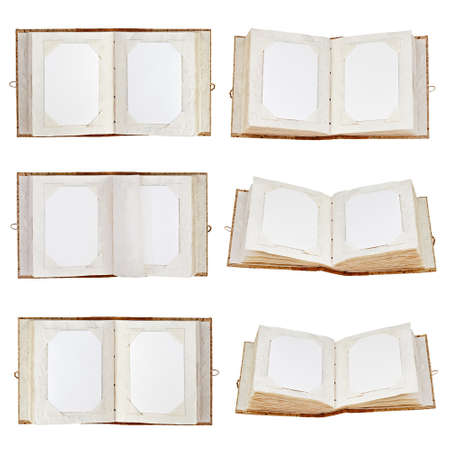 Set of old open photo albums with place for your photos isolated on white background. Closeup. photo