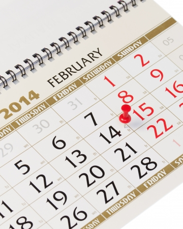 Calendar page with red thumbtack on February 14 2014. Closeup. photo