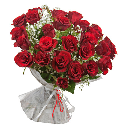 Flower bouquet from red roses isolated on white background. Closeup.