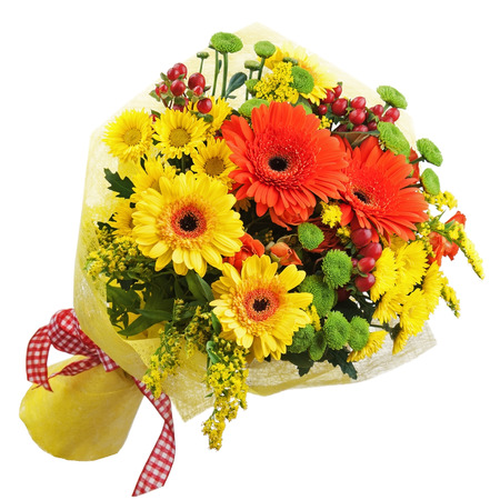 Bouquet from gerbera flowers isolated on white background. Closeup. photo
