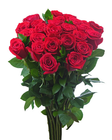 Flower bouquet from red roses isolated on white background. Closeup. Stock Photo - 26154572