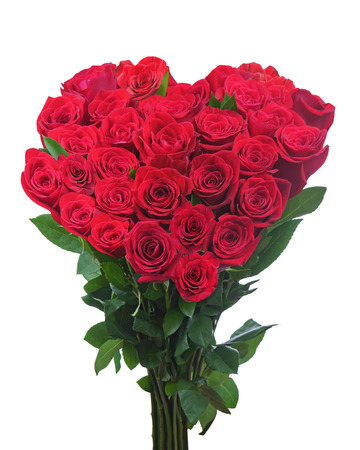 Bouquet from red roses in shape of heart isolated on white background. Closeup. photo