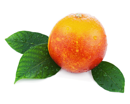 Blood orange with green leaves isolated on white background. Closeup.