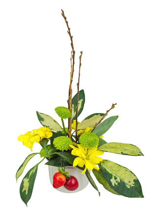 alstromeria: Bouquet from flowers, berries and pussy willows branches in vase isolated on white background.
