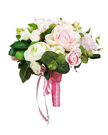 Beautiful wedding bouquet from white and pink roses isolated on white background.