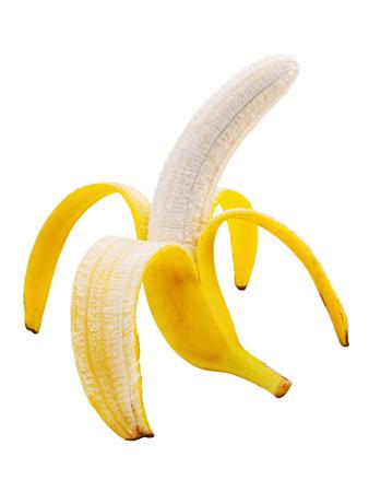 peeled banana: Peeled banana isolated on white background. Closeup.