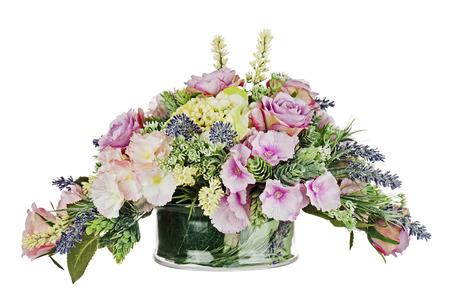 Bouquet From Artificial Flowers Arrangement Centerpiece In Vase