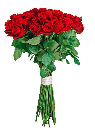 Colorful flower bouquet from red roses isolated on white background. Closeup. Banque d'images