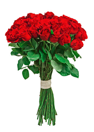 Colorful flower bouquet from red roses isolated on white background. Closeup. photo