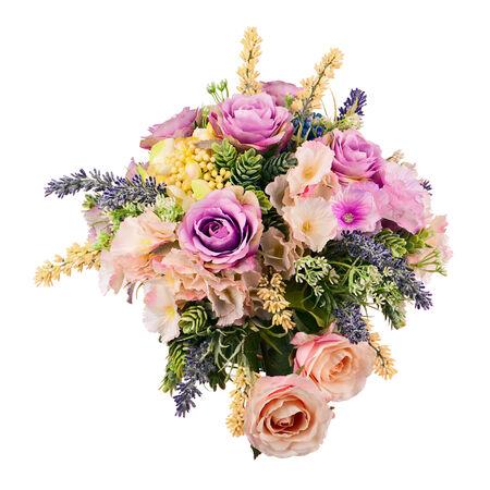 arreglo floral: Ramo de flores artificiales central arreglo en florero aislado en el fondo blanco. Foto de archivo