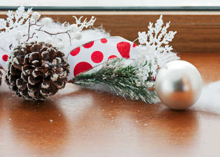 Christmas decoration on wooden background. Closeup. photo