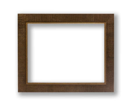Old Antique Brown Frame With Shadows Isolated On White Background. photo