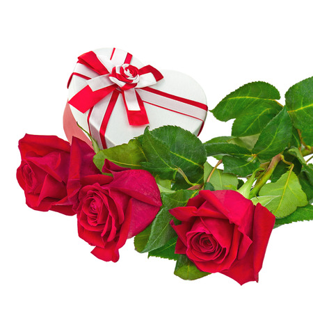 Gift Box in Shape of Heart and Bouquet from Roses Flowers Isolated on White Background. photo