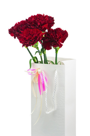 Gift Box and Bouquet from Carnations Flowers Isolated on White Background. photo