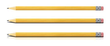 lapiz: Conjunto de l�pices amarillos aislados sobre fondo blanco. Ilustraci�n con alto detalle.