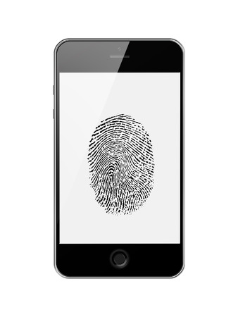 Mobile Smart Phone with Fingerprint of Thumb Isolated on White Background. Highly Detailed Illustration.