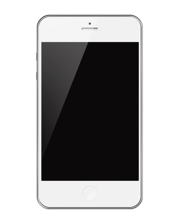 Mobile Smart Phone with Black Screen Isolated on White Background. Highly Detailed Illustration. Banco de Imagens