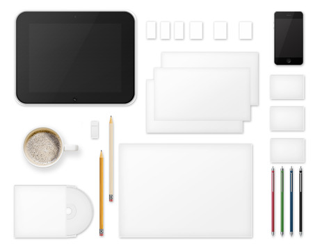 pen and paper: Office Supplies for Designers Presentations and Portfolios Isolated on White Background. Above view.