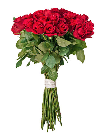 bunch of hearts: Colorful flower bouquet from red roses isolated on white background. Closeup. Stock Photo