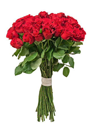 Colorful flower bouquet from red roses isolated on white background. Closeup. Stock Photo
