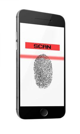 Mobile smart phone with fingerprint of thumb isolated on white background. Highly detailed illustration. illustration