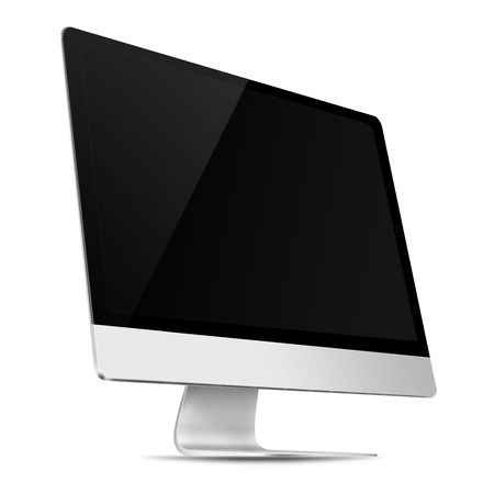 isolated: Modern flat screen computer monitor with empty screen isolated on white background. Highly detailed illustration.