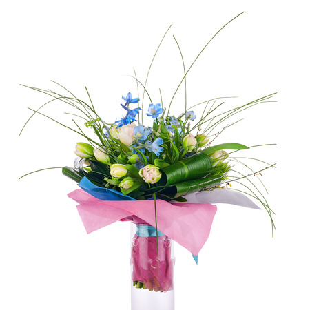 Flower bouquet from tulips, iris and other flowers arrangement centerpiece isolated on white background. photo