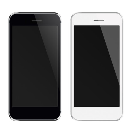 to white: Realistic black and white mobile phones with black screen isolated on white background. Highly detailed illustration.