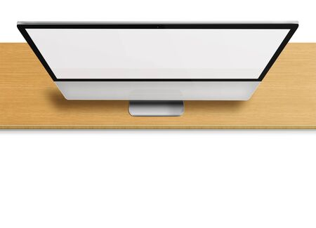 front desk: Modern computer monitor with blank screen on wooden desk isolated on white  background. Front view from the top. Highly detailed illustration.