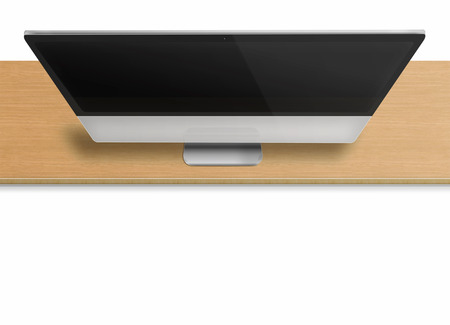 front desk: Modern computer monitor with black screen on wooden desk isolated on white  background. Front view from the top. Highly detailed illustration. Stock Photo