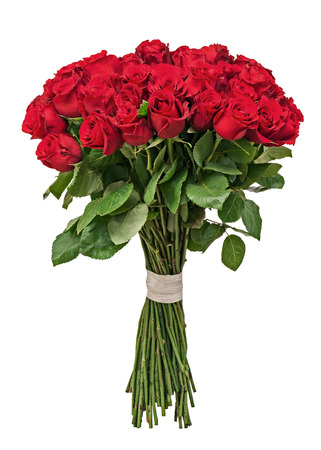 Colorful flower bouquet from red roses isolated on white background. Closeup. Standard-Bild