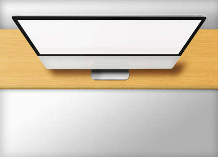 front desk: Modern computer monitor with blank screen on wooden desk and grey background. Front view from the top. Highly detailed illustration. Stock Photo