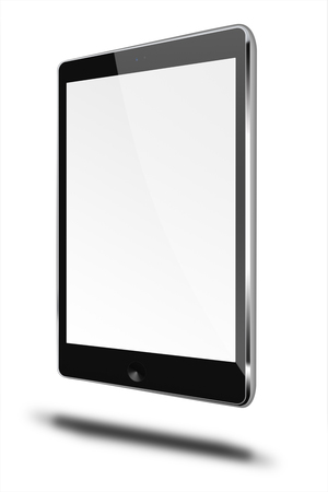 communicator: Realistic tablet computer with black screen isolated on white background. Highly detailed illustration. Stock Photo
