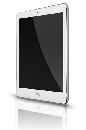 pda: Realistic tablet computer with black screen and reflection isolated on white background. Highly detailed illustration.