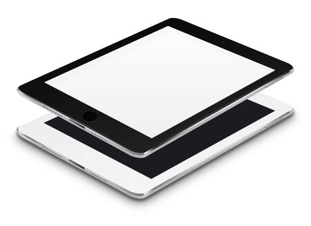 communicator: Realistic tablet computers with black and blank screens isolated on white background. Highly detailed illustration.