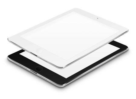 Realistic tablet computers with blank screens isolated on white background. Highly detailed illustration.