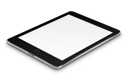 communicator: Realistic tablet computer with blank screen isolated on white background. Highly detailed illustration. Stock Photo