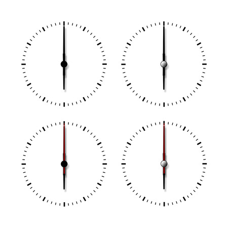 Set of clocks without numbers isolated on white background. photo