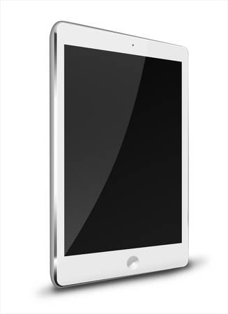 Realistic tablet computer with black screen isolated on white background. Highly detailed illustration. Stock Photo