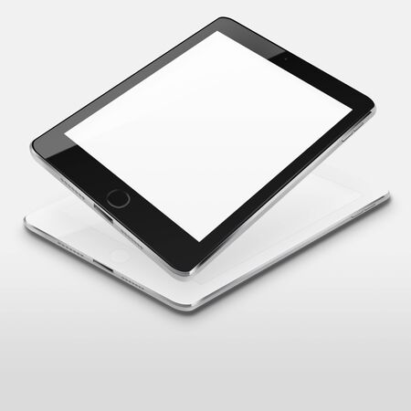 communicator: Tablet computers with blank screens on gray background. Highly detailed illustration.
