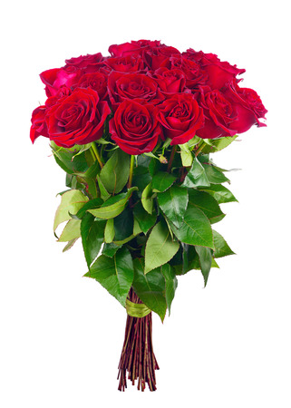 bunch of red roses: Bouquet of blossoming dark red roses isolated on white background. Closeup.