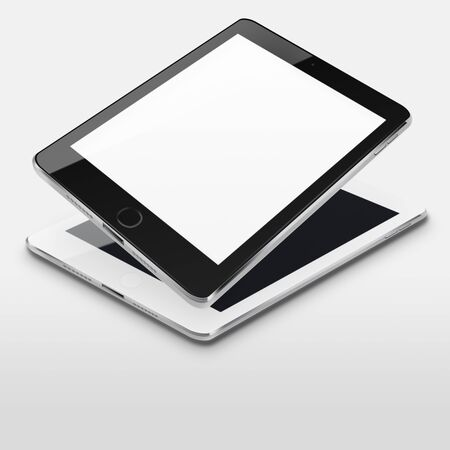 communicator: Tablet computers with blank and black screens on gray background. Highly detailed illustration.