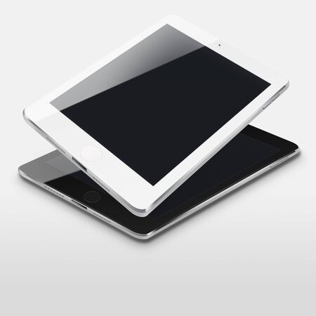 communicator: Tablet computers with black screens on gray background. Highly detailed illustration.