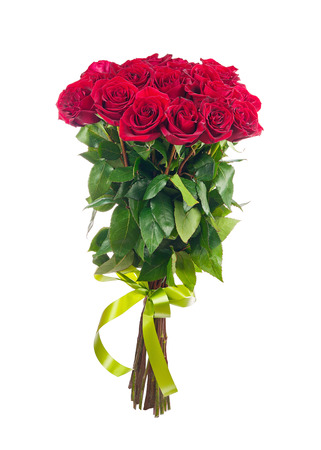 Bouquet of blossoming dark red roses isolated on white background. Closeup.