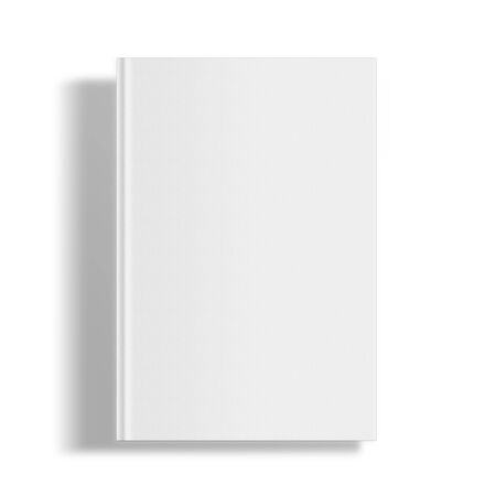 blank template: Blank book cover template isolated on white background with shadows Stock Photo