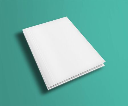 Blank book cover template on trendy flat background with shadows