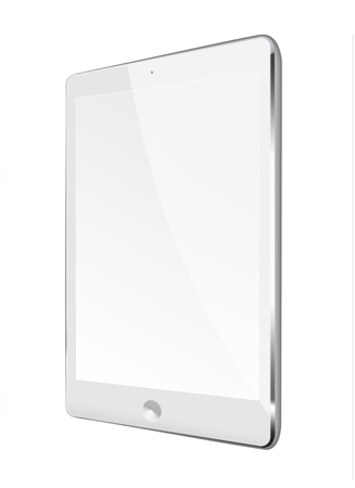 pda: Realistic tablet computer with black screen isolated on white background